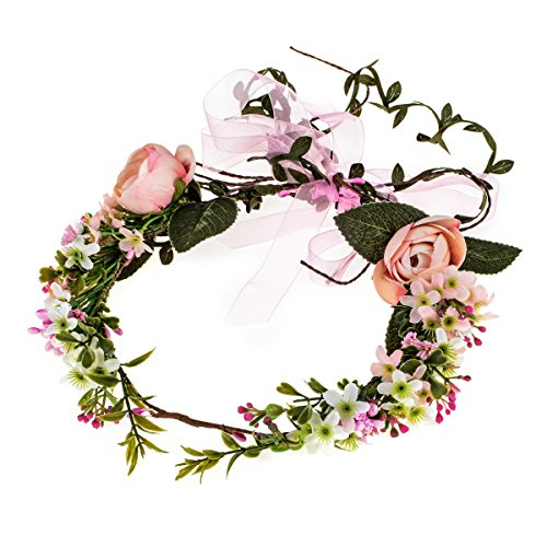 Floral Fall Adjustable Bridal Flower Garland Headband Flower Crown Hair Wreath Halo F-83 (B-Pink) - Beautiful Crown