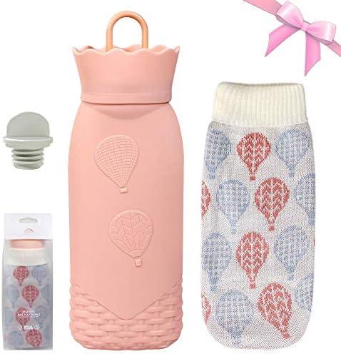 Wärmflasche aus Silikon mit Abdeckung BPA-frei Wärmebeutel für Schmerzlinderung, Heiß- und Kältetherapie, Geburtstags- und Weihnachtsgeschenk für Babys (Rose, Long)