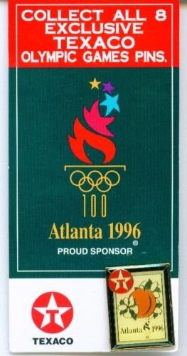 - Texaco 1996 Atlanta Olympics Sponsor Peach Hat Lapel Pin