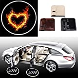 2PCS Universal Wireless Car Projection LED Projector Door Shadow Light Welcome Light Laser Emblem Logo Lamps Heart Burn