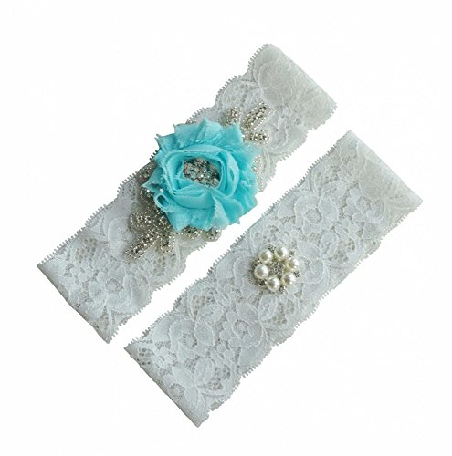 Miranda's Bridal Women's Lace Edge Lace Bridal Garters Wedding Garters with Pearl Light Blue M