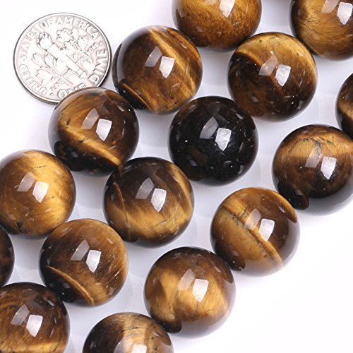 - GEM-inside Tiger Eye Gemstone Loose Beads Natural 16mm Round Crystal Energy Stone Power For Jewelry Making 15''
