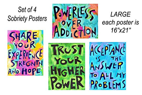 Addiction Recovery 12 Step Sober Gift (Set of 4-16