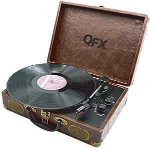 Amazon.com: QFX Turntable, faux-weathered café piel Portátil ...