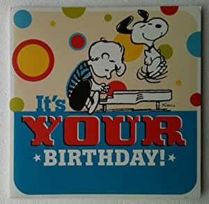 """LINUS LUCY SNOOPY CHARLIE BROWN Peanuts Musical Singing GIANT 11"""" Square Birthday Card & Envelope"""