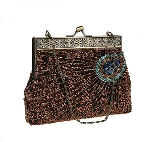 Sunburst Sequin Evening Eye Clutch Unusual Peacock Teal and Purse Navy Turquoise Beaded Catching Antique Coffee Handbag Vintage ADOO 8FvHB