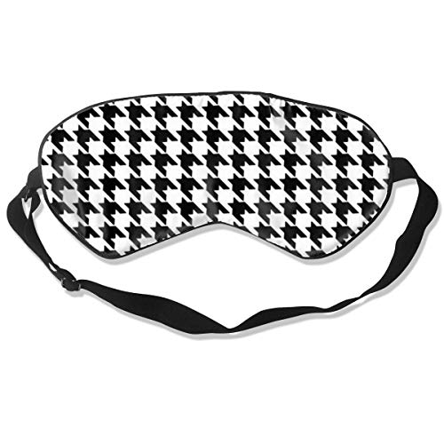 YINLAN No Pressure Adjustable Eye Mask, Comfortable Lightweight Silk Sleep Mask, Blindfold Eye Cover for Sleeping Shift Work Naps Travel Eyeshade (Black and White - Houndstooth Shift