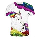 Men's O-neck 3D Digital Print Cartoon Animal Design Lovers' Short Sleeve Summer T-shirts(white,M)