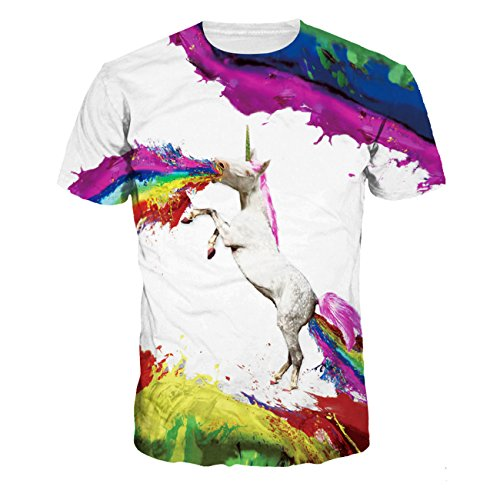 Men's O-neck 3D Digital Print Cartoon Animal Design Lovers' Short Sleeve Summer T-shirts(white,M) ()