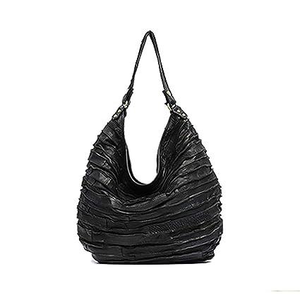 eec5d3e04761 Amazon.com  Leather Skin Stripe Hobos Women Hobo Shoulder Bag Black ...