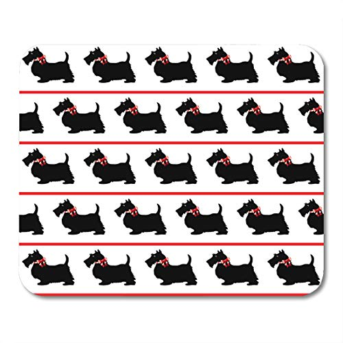 Emvency Mouse Pads Scottish Black Scottie Dogs Red Bows on Terrier Silhouette Cartoon Mouse pad 9.5