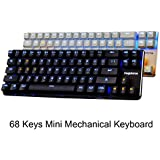 Qisan Gaming Keyboard Mechanical Keyboard Backlit Red Switch 68-Keys Mini Design (60%) Come with Free Data OTG Cable Deep Grey