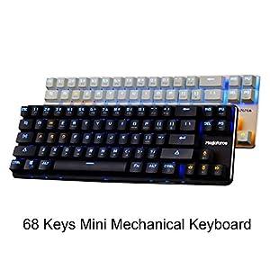 qisan gaming keyboard mechanical keyboard backlit wired keyboard blue switch 68 keys. Black Bedroom Furniture Sets. Home Design Ideas