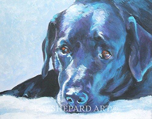 A Labrador Retriever dog art portrait print of an LA Shepard painting (Retriever Dog Portrait)