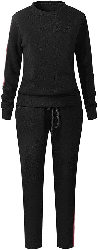 Pantalon Col Rond Tops Leggings Yoga Jogging Surv/êtement Ensemble De Sportwear Noir EU XXL ShallGood Femme Casual Mode Sweat Shirt