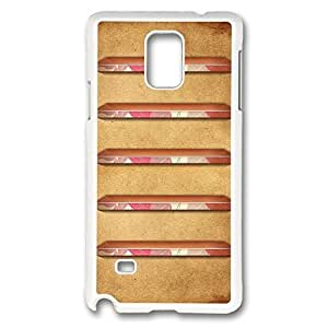 Galaxy Note 4 Case, Creativity Design Pink And Brown Retro Shelves Creativity Print Pattern Perfection Case [Anti-Slip Feature] [Perfect Slim Fit] Plastic Case Hard White Covers for Samsung Galaxy Note 4