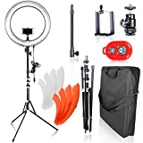 Emart 18 inch Dimmable Ring Light with Stand, 75W Fluorescent Flash Circle Lighting Kit for Photography, Makeup & Photo/Video Shooting in Studio, for Camera and iPhone/iPad