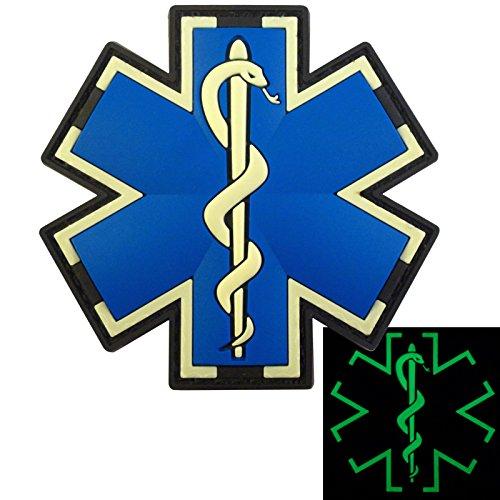 Glow Dark EMS EMT Medic Paramedic Star of Life Morale Tactical PVC 3D Hook&Loop Patch