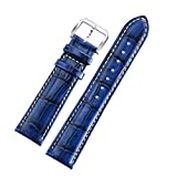 Blue Luxury Watch Bands 20mm Genuine Cowhide Leather Padded Crocodile Grain White Contrast Stitching
