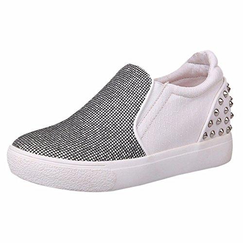 Fruehling neue Plattform Pailletten Schuhe, flache Niet abgerundeter Spitze Beleg auf Schuhen Faulenzer White
