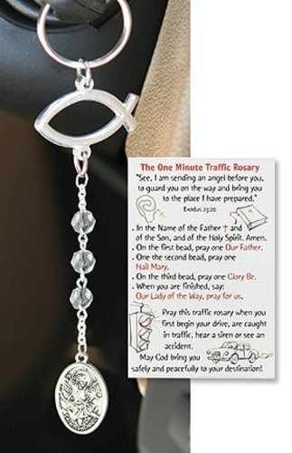 Saint Michael Guardian Angel Medal Traffic Rosary Key Chain with Holy Prayer Card