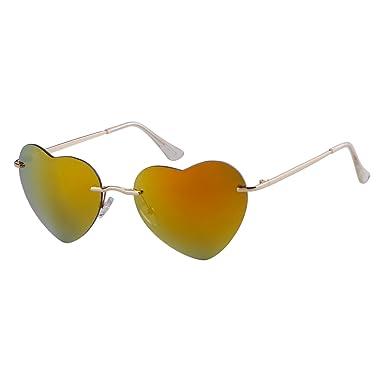 6e00596ea786 ADEWU Girls' Heart Shape Ocean Color Rimless Beach Sunglasses 62*18*135 23g