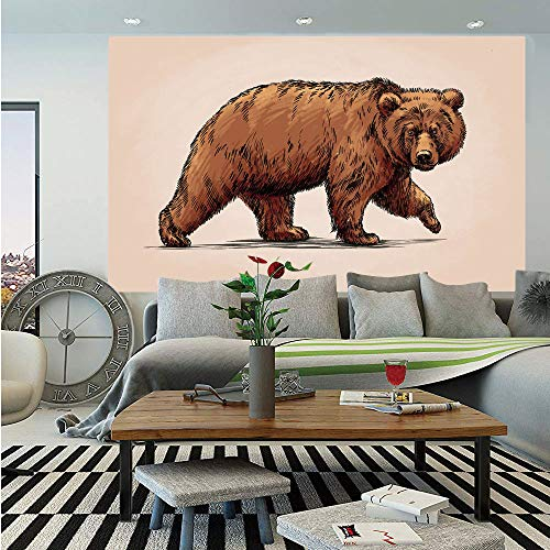 - SoSung Bear Huge Photo Wall Mural,Ink Drawing Style Wildlife Beast Carnivore Figure Walking Zoology Nature Themed Art Decorative,Self-Adhesive Large Wallpaper for Home Decor 100x144 inches,Brown Rose