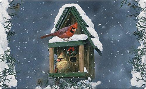 Toland Home Garden Cardinals in Snow 18 x 30 Inch Decorative Floor Mat Birdhouse Winter Bird Christmas Doormat