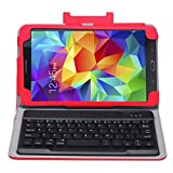Exact Samsung Galaxy Tab S 8.4 Case [TypeFOLIO Series] - Keyboard Cover Case with Removable Bluetooth Wireless Keyboard for Samsung Galaxy Tab S 8.4 (SM-T700 / SM-T705) Red