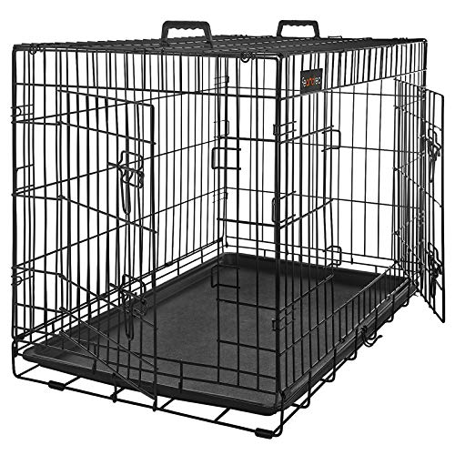 FEANDREA HundeKäfig 2 Türen faltbar Hundebox Gitterbox TransportKäfig DrahtKäfig Katzen Hasen Nager Kaninchen Geflügel…