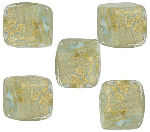 (Aqua Cracked Gold Foil Cube 10mm, 5 Pieces Authentic Murano Glass Bead)
