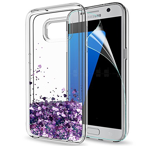 S7 Edge Case, Galaxy S7 Edge Glitter Case with HD Screen Protector for Girls Women, LeYi Bling Shiny Moving Quicksand Liquid Clear TPU Protective Phone Cover Case for Samsung Galaxy S7 Edge ZX Purple