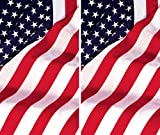 WOWindow Posters Twin USA Flags Window Decorations Two 34.5''x60'' Backlit Posters