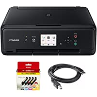 Canon PIXMA TS5020 Black Wireless Inkjet All-In-One Printer + Genuine Canon Ink CLI-271 BK/CMY 4 Color + Printer Cable