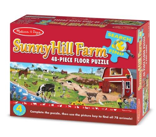Amazoncom Melissa Doug Search And Find Sunny Hill Farm Jumbo - Melissa and doug floor puzzle