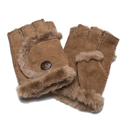 あったか ムートン手袋 指なし レディース Mサイズ 指なしグローブ 防寒 保温 シープスキン ダブルフェイス オーストラリア産原皮を使用 YDG16812
