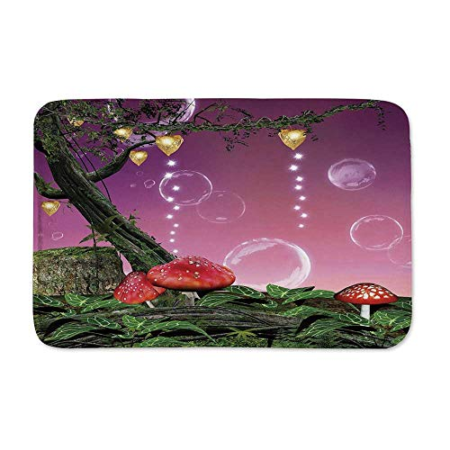 YOLIYANA Mushroom Anti Slip Rubber Back Doormat,Spellbound Forest with Magic Mushrooms Trees Leaves Bubbles Vivid Heart Figures Decorative for Living Room,23
