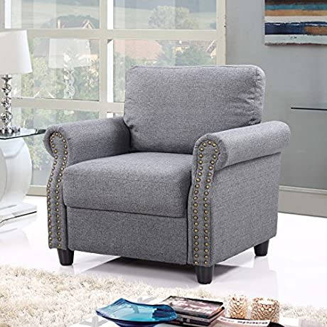 Classic Living Room Linen Armchair With Nailhead Trim And Storage Space Light Grey