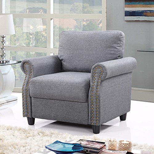 Classic Living Room Linen Armchair with Nailhead Trim and Storage Space (Light (Classic Living Room Furniture)