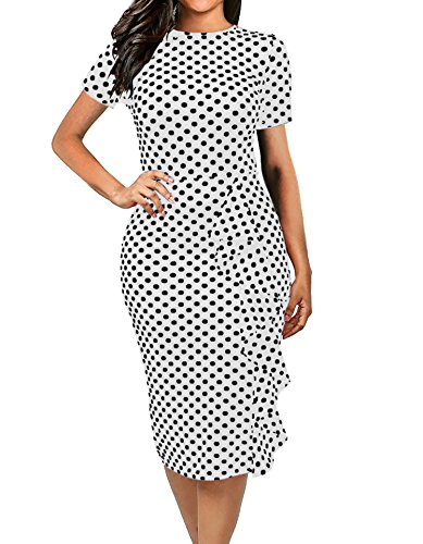 CISMARK Women's Elegant Short Sleeve Polka Dot Bodycon Pencil Dress White X-Large