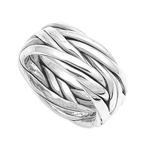 Princess Kylie 925 Sterling Silver Black Barbed Wire Ring Size 11