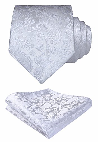 HISDERN Solid Paisley Tie Handkerchief Woven Men's Wedding Necktie & Pocket Square Set White - Paisley Satin Tie