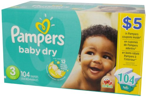 Pampers Baby Dry Diapers Size 3, Super Pack, 104 Count (Packaging May Vary)