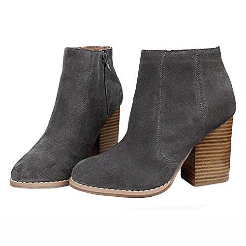 Gimekiss Pumps Womens Warm Big Zip Round Toe Chunky High Heel Ankle Boots Dk Grey36 M EU / 4 F(M) UK