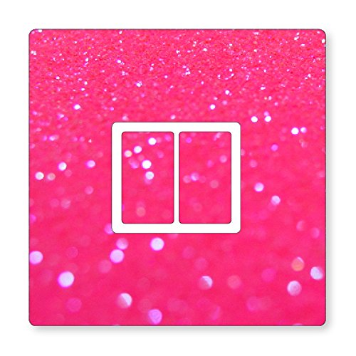 METAL FLAKE GLITTER EFFECT UK LIGHT SWITCH STICKERS, KITCHEN LIVING ROOM DECORATING (Pink Double Switch)