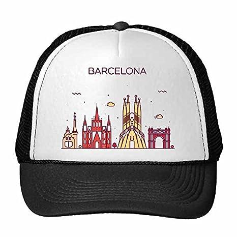 DIYthinker Gorra de béisbol de Nylon Patrón Barcelona España Plana Landmark Gorros Gorro Casquillo Ajustable: Amazon.es: Deportes y aire libre