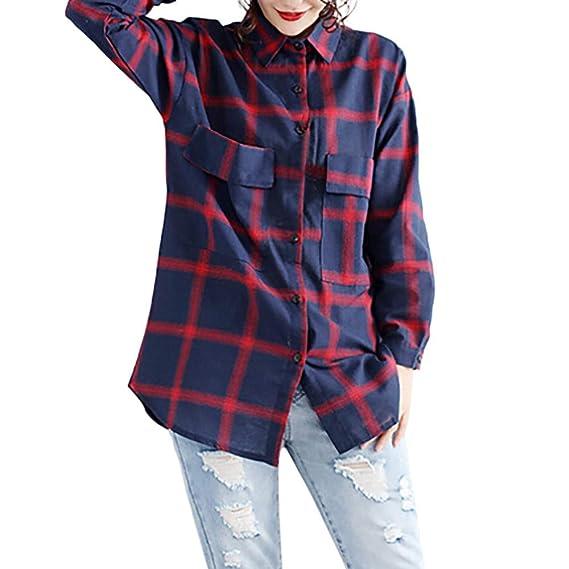 Yvelands Camiseta de algodón para Mujer, Tops de otoño para Mujer Camisa de Manga Larga