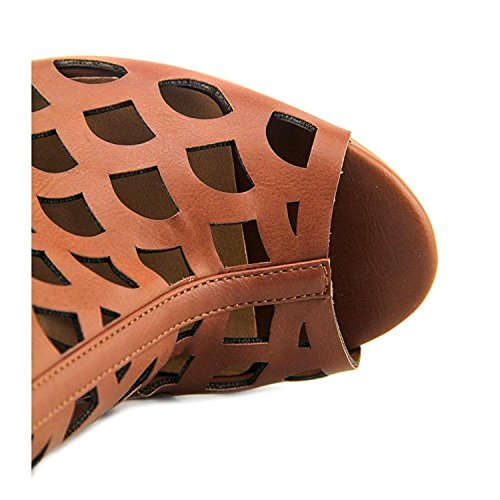 Heartsoul Danette Leather Peep Toe De Mujer A Media Pierna Botas De Cognac