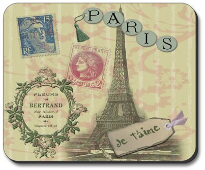 Paris Je T'aime Travel Themed Mouse Pad - By Art Plates
