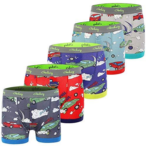 Gorboig Boys 5-Pack Boxer Briefs Cars Truck Kids Underwear(5/6Y,Car)